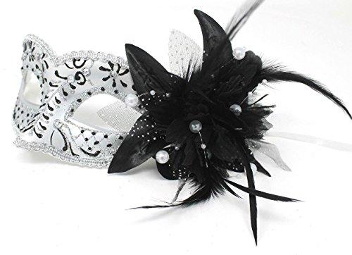 Das Gute Leben Damen Schwarz und Silber mit Blume u. Federn Juwelen Venezianische Maskerade Partei Karneval ()