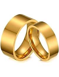AnazoZ Acero Inoxidable Anillos para Hombre Mujer Anillo de Bodas Circonita Alto Pulido Oro