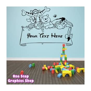 1Stop Graphics   Shop Winnie The Pooh Personalised Wall Art Sticker 2    Girl Boy Kids Part 83