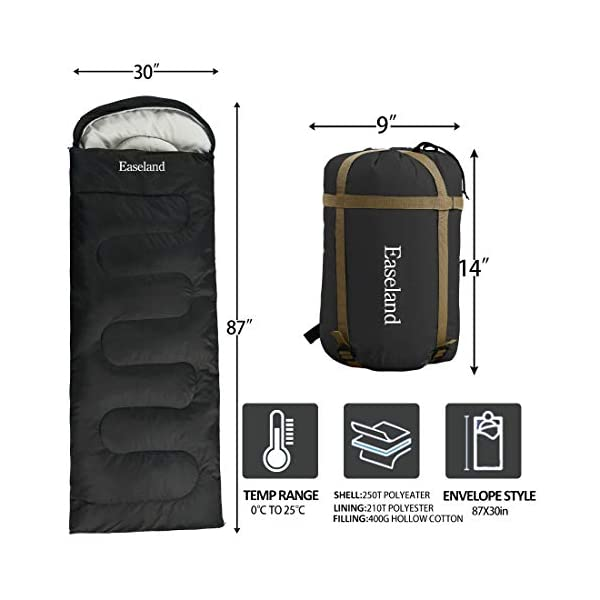 EASELAND 3-4 Season Envelope Style Sleeping Bag for Camping,Hiking,Backpacking and Outdoors Activity-Suit for Adults… 2