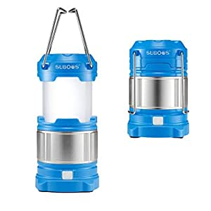 SUBOOS Ultimate Rechargeable LED Lantern and 5200mAh Power Bank - 4 Brightness Modes - Compact and Collapsible - Water Resistant IPX5 - Great Light for : Camping, Hiking, Loft, Shed, Power Outages - 2 Battery Options(All Batteries Included) - 5 Year Warranty