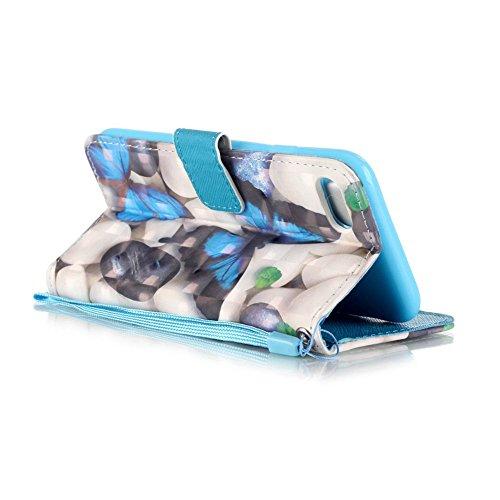 KM-WEN® Schutzhülle für Apple iPhone 7 (4,7 Zoll) Bookstyle Farbmalerei Series Tiger Muster Magnetverschluss PU Leder Wallet Case Flip Cover Hülle Tasche Schutzhülle mit Standfunktion Kartenfächer für Farbe-7