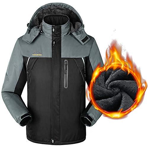 Xiaodun77 Herren Ski Eislauf-Jacken-Winter-warme wasserdichte Fleecejacke im Freien wandernden Reise Jacke Armee Tactical Bergkleidung,Schwarz,8XL