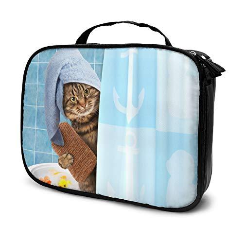 Lustige Katze, die eine Bad-Make-upbeutel-niedliche, stilvolle Kosmetik-Tasche für Frauen-Reise-Toilettenartikel-Taschen-Organisator nimmt