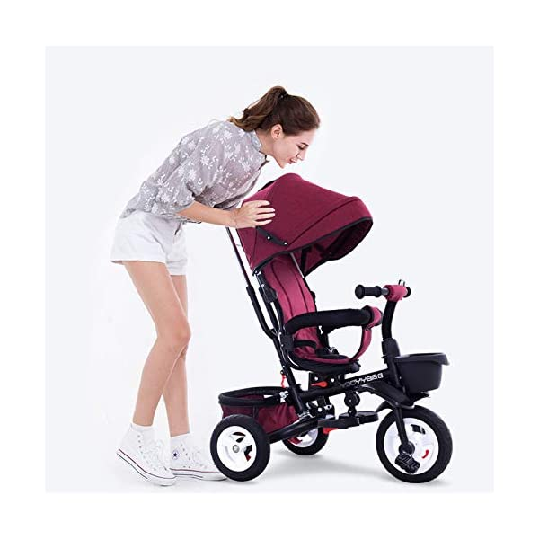 BGHKFF 4 In 1 Childrens Folding Tricycle 1 To 6 Years Rear Wheel With Brake Childrens Tricycles Detachable And Adjustable Push Handle 2-Point Safety Belt Child Trike Maximum Weight 25 Kg,Winered BGHKFF ★Material: High carbon steel frame, suitable for children aged 1-6, maximum weight 25 kg ★ 4 in 1 multi-function: can be converted into a stroller and a tricycle. Remove the hand putter and awning, and the guardrail as a tricycle. ★Safety design: Golden triangle structure, safe and stable; front wheel clutch, will not hit the baby's foot; 2 point seat belt + guardrail; rear wheel double brake 1
