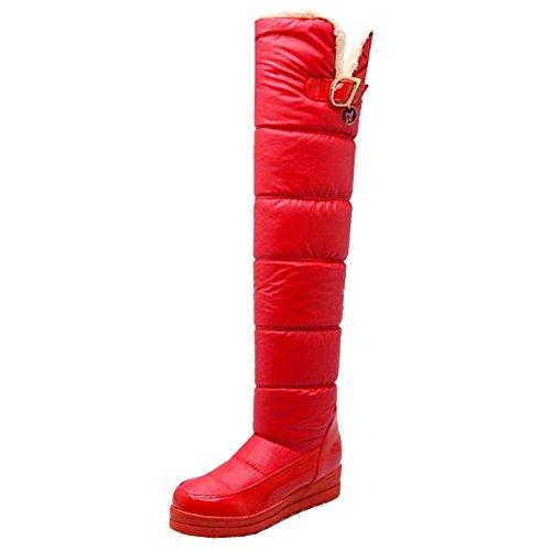 Taoffen Mulheres Botas De Neve De Inverno Cunha Calcanhar Quente Botas Longo Do Eixo Vermelho