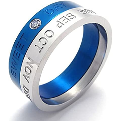 Acciaio Inossidabile Anello Uomo Matrimonio Banda Blu Spinning By Aienid