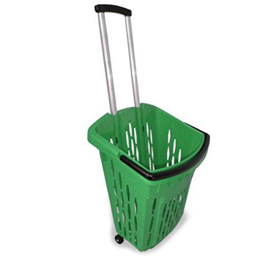 Einkaufstrolley Einkaufswagen Shopper 40 Liter verschiedene Farben Einkaufskorb mit Rollen (1, grün)