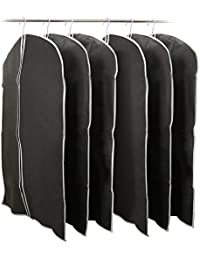 EZOWare Set da 6 Borsa Porta Abiti 100cm, Custodia Pieghevole Traspirante per Vestiti da Viaggio – Nero, Confezione da 6 100cm