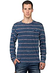Chillaz Hombre Alaro Circled manga larga, Otoño-invierno, hombre, color denim red stripes, tamaño extra-large