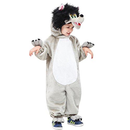Vestito costume maschera di carnevale bimbo - lupo lupetto - taglia 3/4 anni - 78 cm