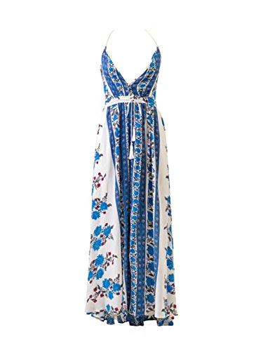 Choies Damen Maxikleid V-Ausschnitt Schlitz vorne Rückenfrei Sommer Spaghetti Strap Strand Kleider Blau