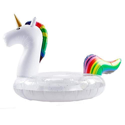 WISHTIME Einhorn Pool Float Aufblasbare Float Pool Party Aufblasbare Flöße Outdoor Floatie Lounge Spielzeug für Erwachsene & Kinder 47 Zoll Aufblasbare Flöße Wasser Spielzeug für Spaß