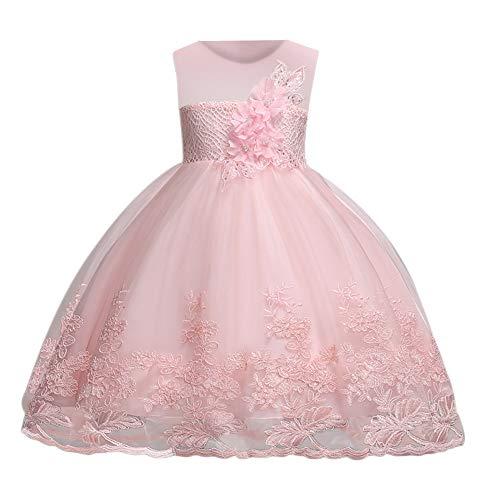 8cc32a8942d5 Bambina Filati Netti Ricamo Fiore Vestiti da Cerimonia Eleganti Senza  Maniche Matrimonio Partito Comunione Abiti Principesse