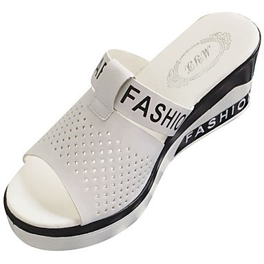 zhENfu donna pantofole & amp; flip-flops sandali Comfort PU Estate Casual Walking Polka Dot tacco piatto bianco nero 3A-3 3/4in White