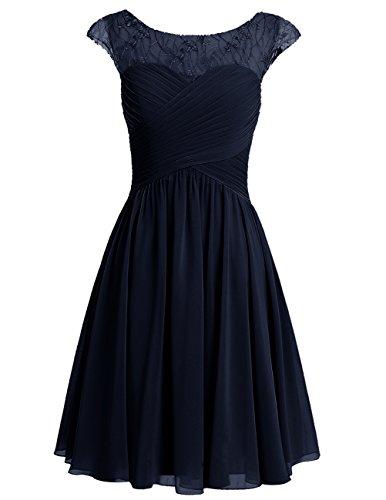Dresstells Damen Kurz Jugendlich Brautjungfernkleider Abiballkleider Marineblau