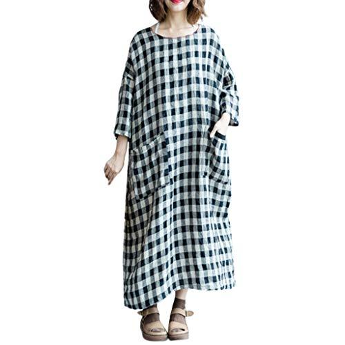 Damen Karo Langes Kleid Lose groß Größe lang Hülse lässig O-Neck-Kleid S-5XL URIBAKY