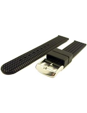 Hochwertiges Silikon ZeitPunkt-Uhrenarmband mit Reifenmuster schwarz 20mm