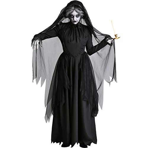 Kostüm Angel Dark Halloween - Vampire Witch Ghost Bride Devil Spiel Uniform Cosplay Dark Angel Kleid Kostüm Halloween Night Party,Black,M