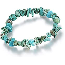 "Young & Forever ""D'vine Collection"" Natural Energized Reiki Crystal Semiprecious Gemstone Chips yoga Healing Yoga and Meditation Crystal Strand Bracelet for women / girls (Turquoise) diwali Gift special"