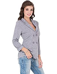 CAY Stylish & Trendy Combo of Grey & Green Colored Double-Breasted Soft Cotton Blazer/Jackets