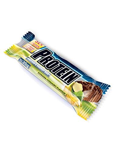 IronMaxx Protein Riegel – Protein Bar 32{d840eb244281d9dc431eb52ec54606fb87bd8fda17604d29303dfb9f0c2723b1} Eiweiß – Riegel mit wenig Zucker und Kohlenhydrate – Fördert Muskelaufbau und Muskelerhalt – Leicht bekömmlich – Sport Riegel Banane Joghurt – 24x35g (1x840g)