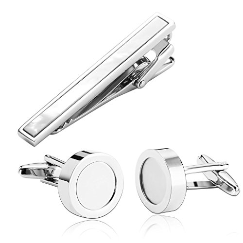 Gnzoe Acciaio inossidabile Tie Clip Argento Gemelli & Tie Clip