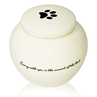 Homelix White Pet Cremation Urn Ceramics Memorial Urn For Cat Dogs Ashes (Pet urns-05) 18