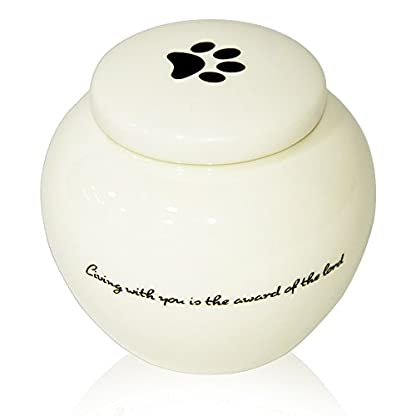 Homelix White Pet Cremation Urn Ceramics Memorial Urn For Cat Dogs Ashes (Pet urns-05) 1