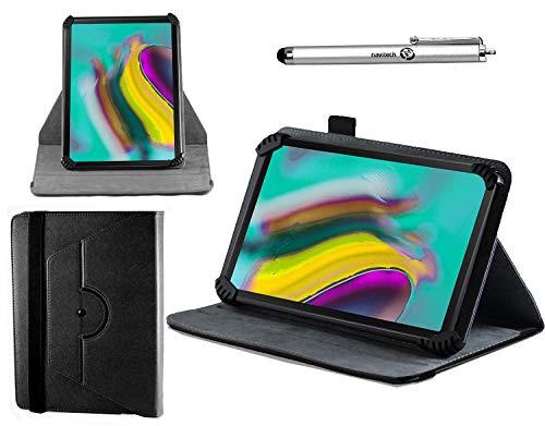 Navitech Schwarz Ledertasche mit 360 Drehständer und Stift kompatibel mit dem RCA Voyager II Tablet 7 inch | RCA Voyager III 7 Inch