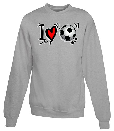 Billion Group | I Love | Football Sport Fan | Women's Unisex Sweatshirt Gris