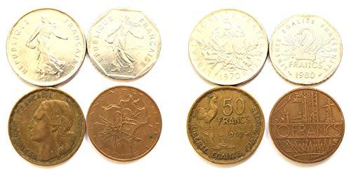 Generic 4 substantische französische Münzen: 1980 2 Francs, 1970 5 Francs, 1984 10 Francs, 1952 50 Francs Münzen für Sammler