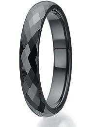 4mm facettiert Design schwarz Keramikring