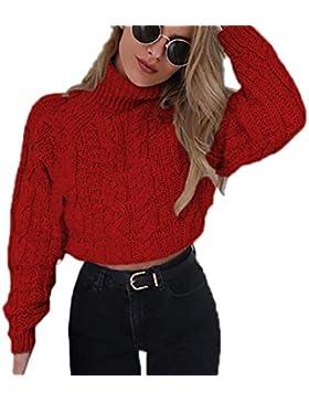 Otoño y Invierno Mujeres Corto Jerséis Manga Larga Suéter de Cuello Alto Pulóver Tops Moda Sweater Prendas de...