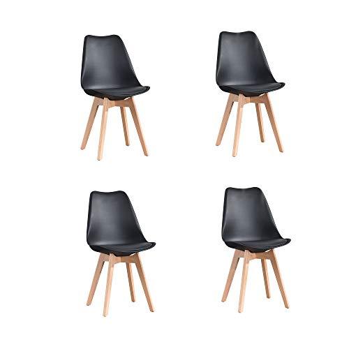 ArtDesign FR Tulip sillas de Comedor Moderno, Juego de 4, Asiento Acolchado...