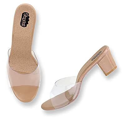 Taydol Women's Fancy Transparent Block Heel sandals