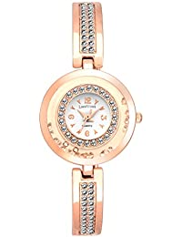 LimeStone Beautiful Studded Party Wear Rose Gold Metal Strap & White Dial Analog Watch For Women's/Girl's With...