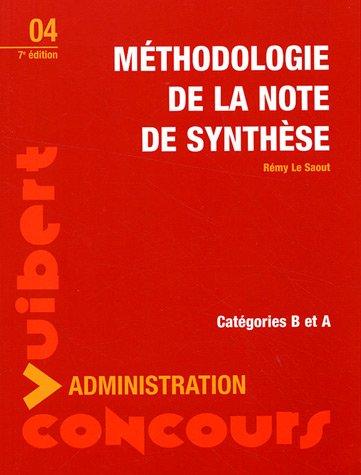 Méthodologie de la note de synthèse : Catégories A et B