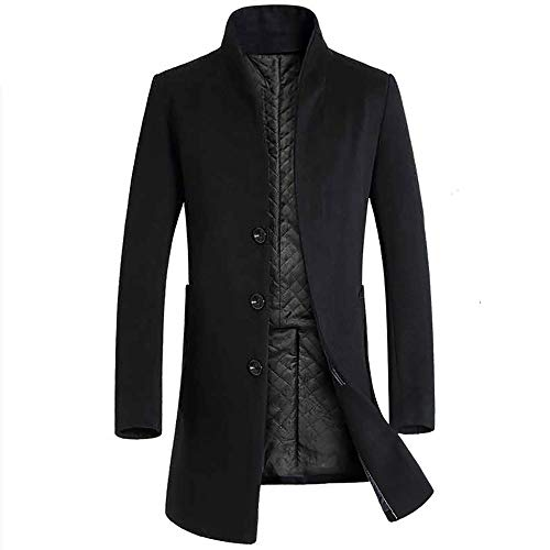 Holywin Männer Jacke Warme Winter Graben Lange Outwear Button Smart Mantel Schwarz Mäntel