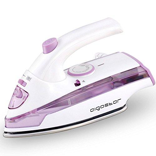 Aigostar Purpletravel 31HHM - Plancha de vapor. Doble voltaje (115V + 230 V). Diseño portátil especial para viajes. Potencia de 800 watios, suela de teflón antiadherente con depósito de 45 ml. Color violeta. Diseño exclusivo.
