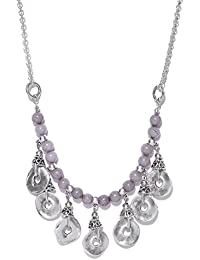 Thingalicious Grey Oxidised Jewellery Silver-Plated Handcrafted Semi Precious Stone-Studded Princess Necklace...