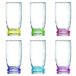 Luminarc Cortina Rainbow Highball Tumbler Set, 330ml, Set of 6, Multicolour