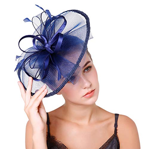 Jixin4you Damen Fascinator Hüte Mit Schleier Cocktail Tea Party Accessoires Haarreif Haarschmuck Schwarzblau