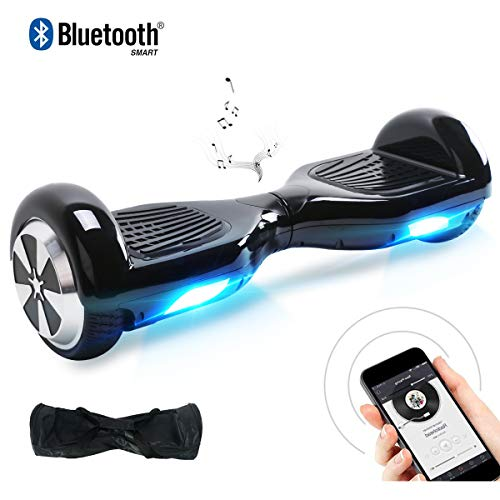 """BEBK 6.5"""" Two Wheel Smart Balance Scooter with Built-in Bluetooth Speakers and Carry Bag(Black-Bluethooth)"""