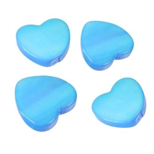 Au plaisr des yeux - 24 Petits Coeurs Nacre, Turquoise 13 mm déco Mariage