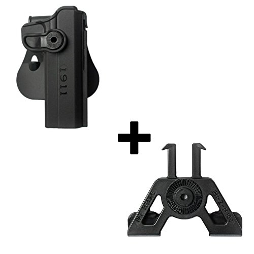 Retention-adapter (IMI Defense Tactical retention rotating 360 roto paddle polymer Holster + Molle adapter attachment for 1911 Variants With & Without Rails pistol handgun)