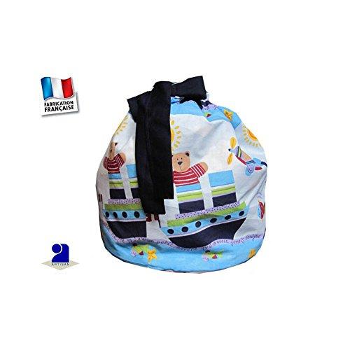 Poussin bleu - Grand sac de rangement jouets en tissu ourson marin, H 44 cm 8d4648e904b