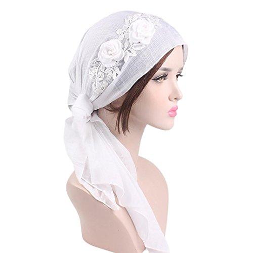 Mitlfuny Damen Kappe Kopftuch Kopfbedeckung Muslime FüR Chemo Krebs Haarverlust Sommer FüR Krebs, Chemo, Haarausfall (Weiß)