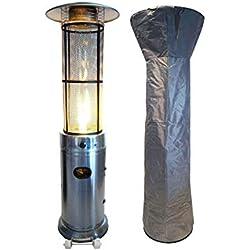 Traedgard® Chauffage de terrasse à gaz « California »avec détendeur, adaptateur, tuyau de gaz ,roulettes et housse de protection , 180 cm de hauteur