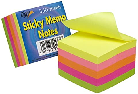 Tiger 2-Inch/5 cm Square Sticky Memo Note - Neon (Pack of 350 Sheets)